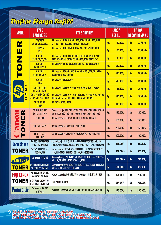 Brosur harga refill toner tinta printer murah 2016